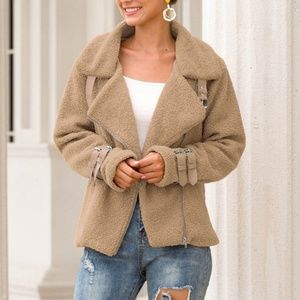 Teddy Plush Jacket with Buckles